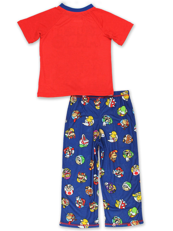 Super Mario Brothers Boys 2 Piece T-Shirt and Pants Pajamas Set