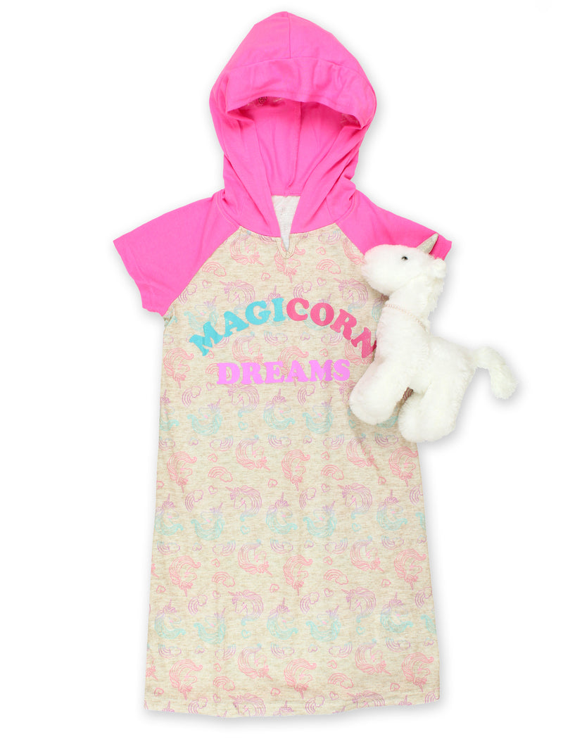 Komar Kids Unicorn Girl's Short Sleeve Hooded Jersey Nightgown Pajamas