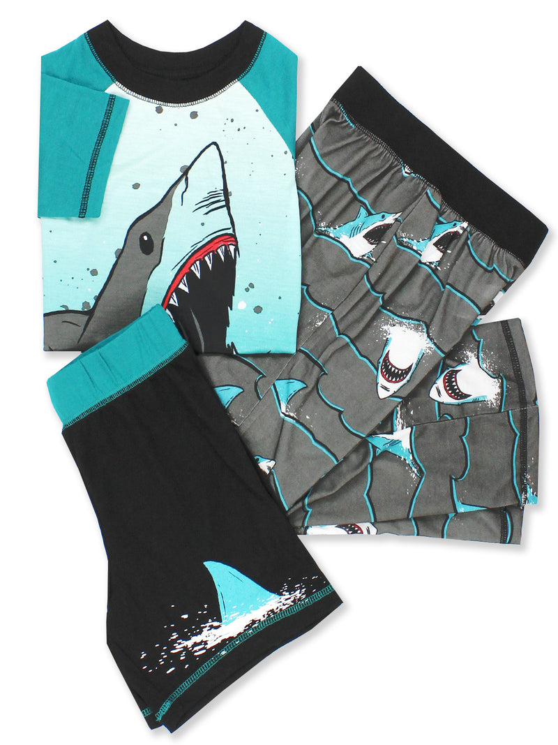 Komar Kids Dinosaur Shark Boy's 3 Piece Top Shorts Pants Pajamas Set