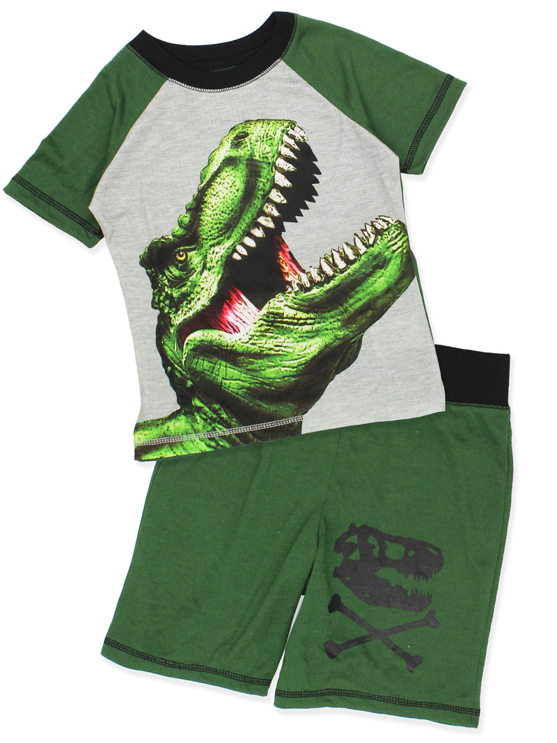 Komar Kids Dinosaur Boy's 3 Piece Top Shorts Pants Pajamas Set