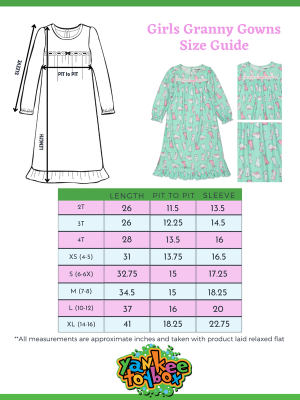 Komar Kids Animals Bunny Girls Flannel Granny Gown Nightgown Pajamas