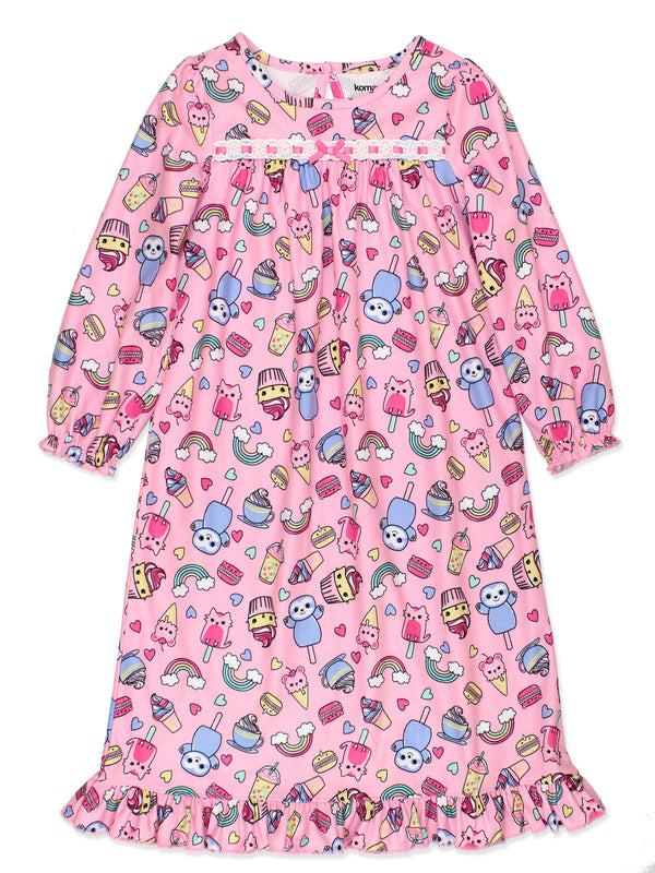 Komar Kids Ice Cream Animals Sweets Toddler Girl's Granny Gown Nightgown Pajamas
