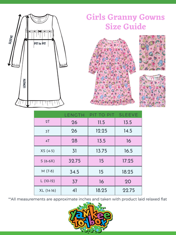 Komar Kids Ice Cream Animals Sweets Girl's Granny Gown Nightgown Pajamas