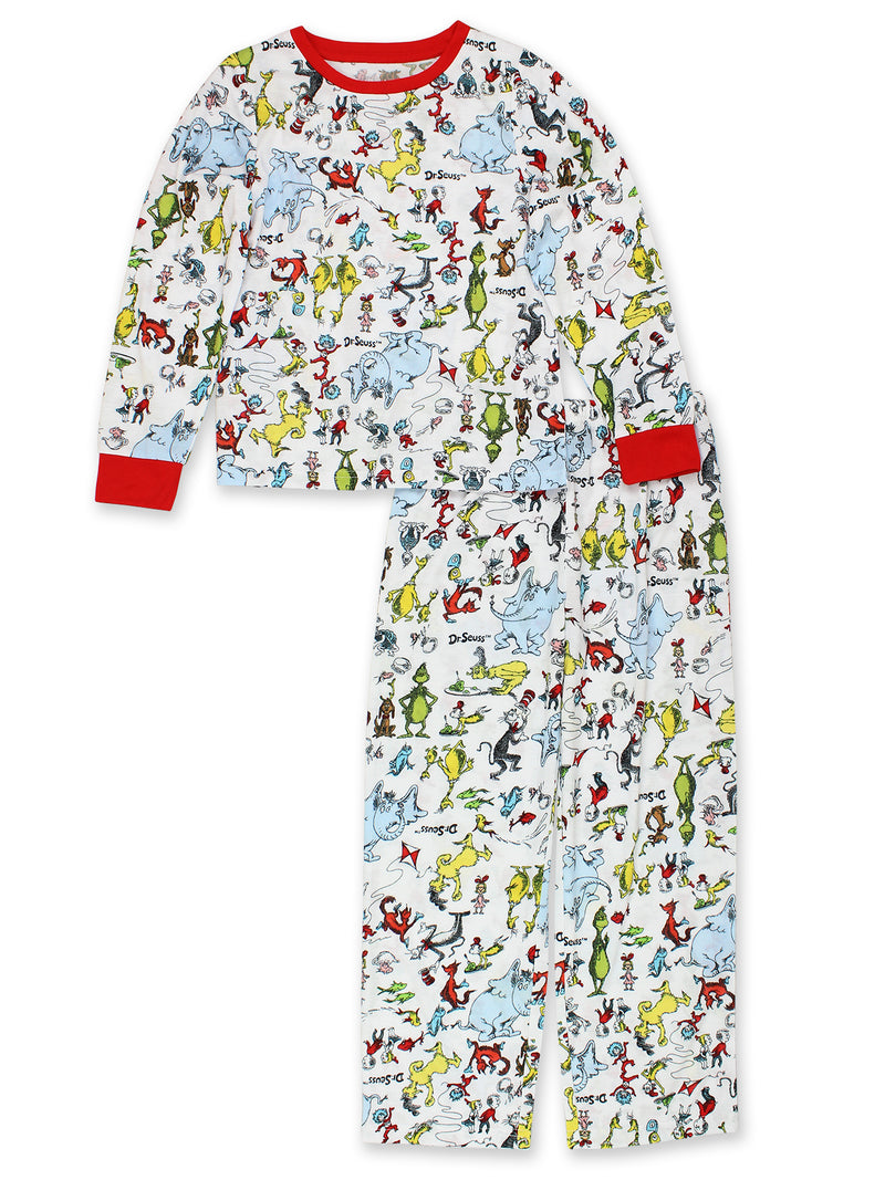 Dr. Seuss The Grinch Cat in the Hat Kids Unisex Long Sleeve 2-Piece Pajamas Set