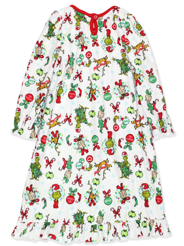 Dr Seuss The Grinch Toddler Girls Christmas Holiday Granny Gown Nightgown