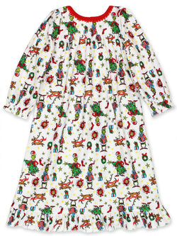 The Grinch Dr. Seuss Toddler Girls Christmas Holiday Flannel Granny Gown Nightgown