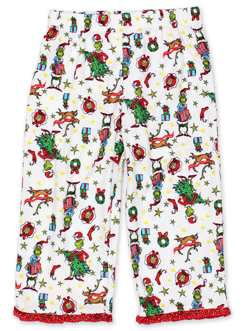 Dr. Seuss Grinch Toddler Girls Holiday Flannel Coat Style Pajamas