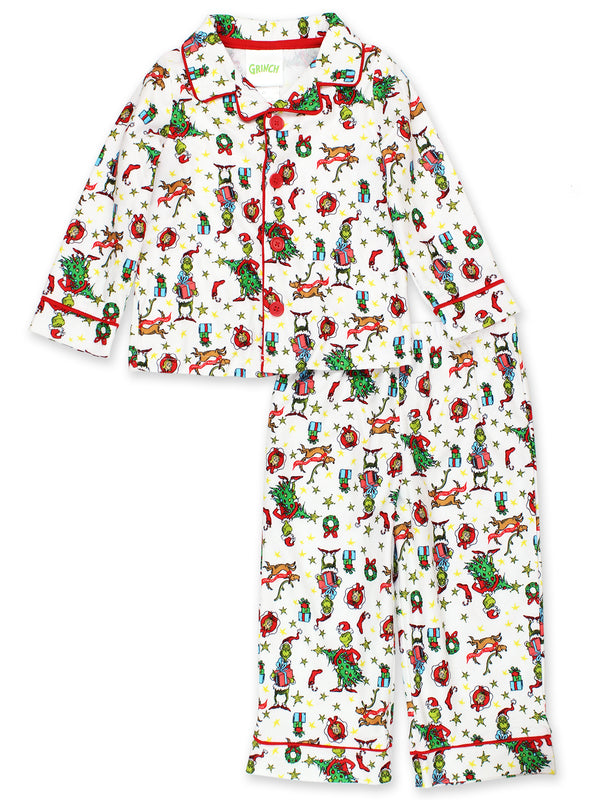 The Grinch Dr. Seuss Toddler Boys Christmas Holiday Flannel Coat Style Pajamas