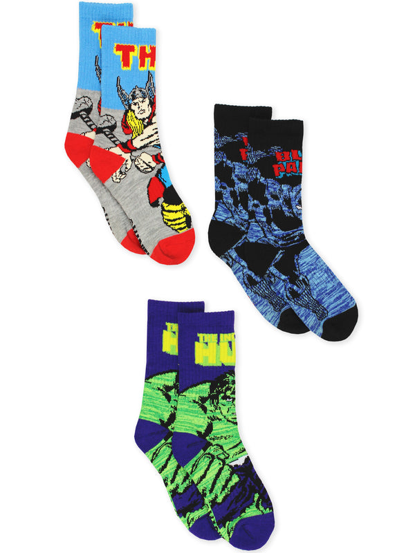 Marvel Avengers Black Panther Hulk Thor Teen Men's 3 pack Crew Socks Set