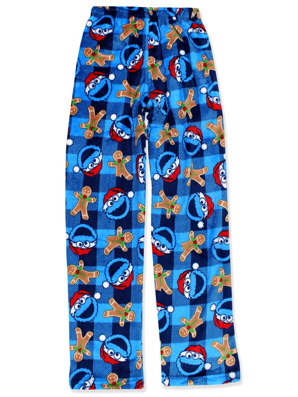 Sesame Street Cookie Monster Mens Christmas Holiday Santa Plush Minky Fleece Pajama Pants