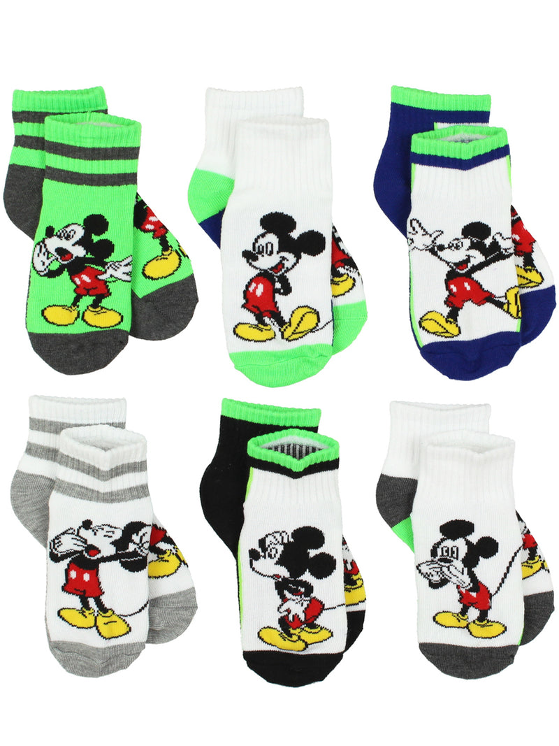 Mickey Mouse Toddler Boys 6 pack Quarter Socks Set