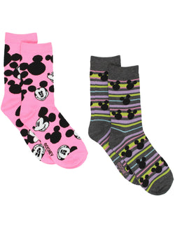 Mickey Mouse Womens 2 pack Socks (9-11 (Shoe: 4-10), Crew Pink/Grey)