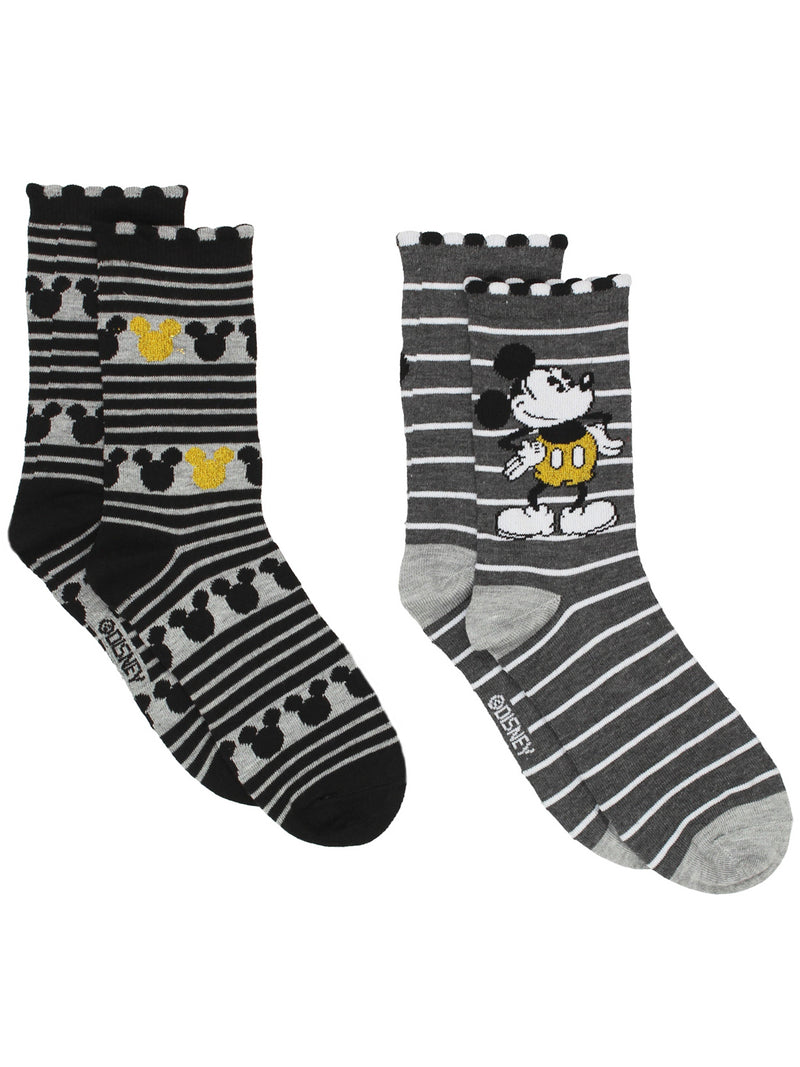 Mickey Mouse Women's 2 pack Crew Socks Set