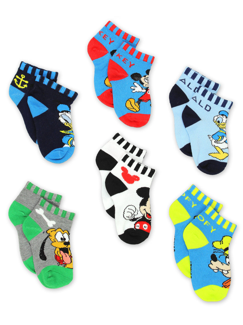 Mickey Mouse Pluto Goofy Donald Duck Toddler 6 Pack Quarter Socks Set