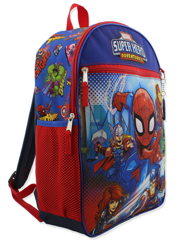 Super Hero Adventures Boys 5 piece Backpack and Snack Bag School Set