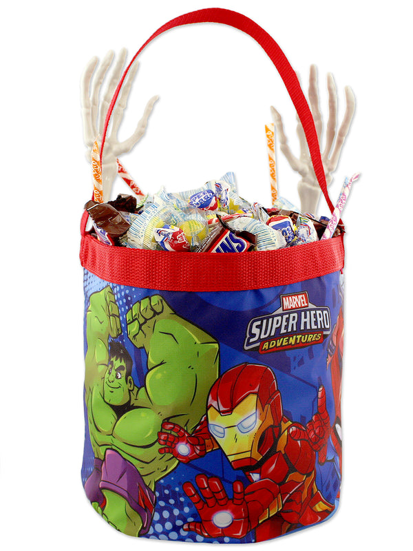 Marvel Super Hero Adventures Boys Collapsible Nylon Gift Basket Bucket Toy Storage Tote Bag