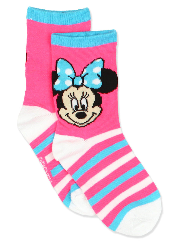Minnie Mouse Girls 3 pack Crew Style Socks Set