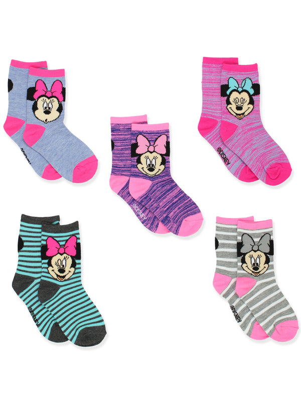 Minnie Mouse Toddler Girls 5 Pack Crew Socks