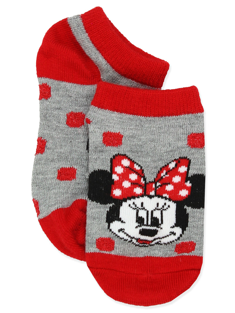 Minnie Mouse Polka Dots and Stripes Girls Toddler 6 pack No Show Socks