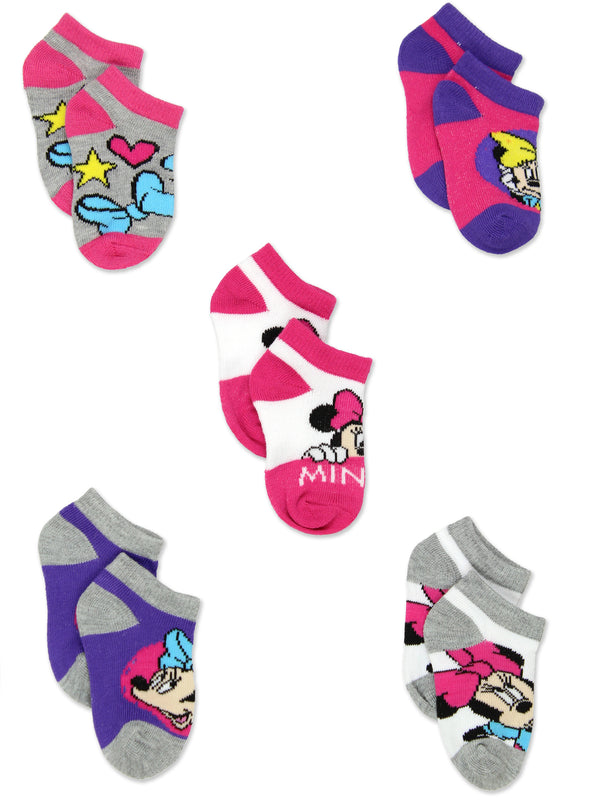 Minnie Mouse Girls Toddler 5 Pack No Show Socks