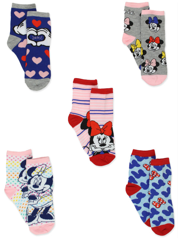 Minnie Mouse Girls Toddler 5 Pack Crew Socks