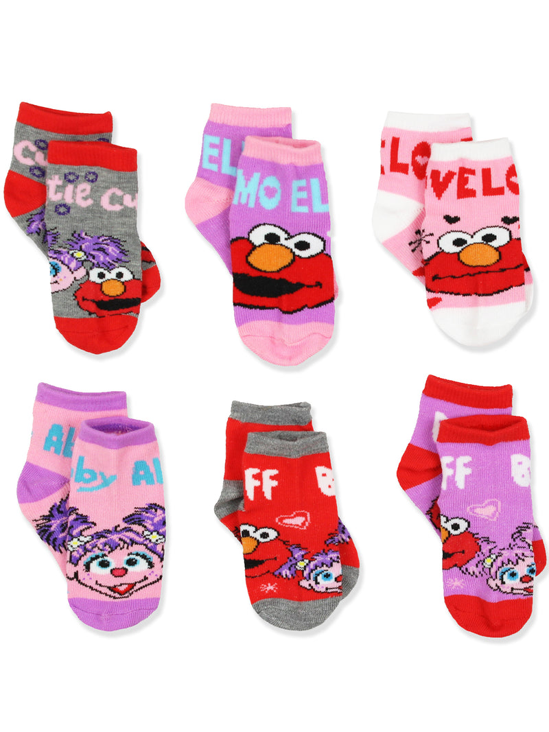 Sesame Street Toddler Girls 6 pack Quarter Socks Set