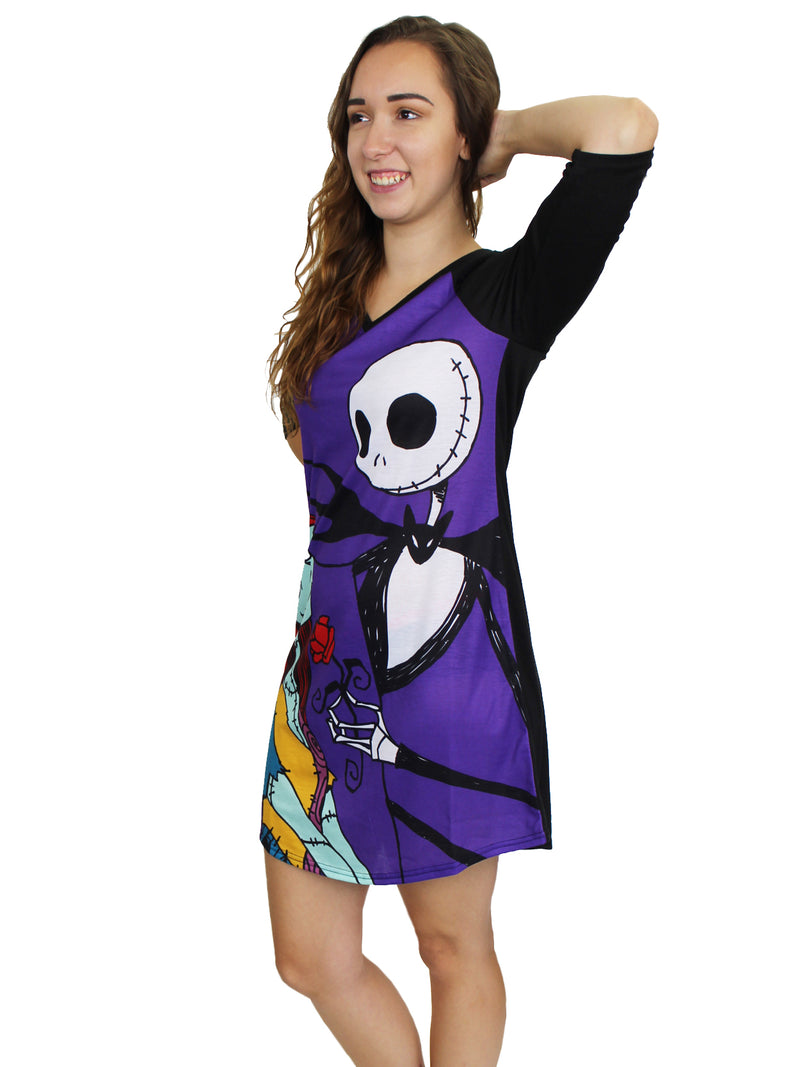 Nightmare Before Christmas Women's 3/4 Sleeve Dorm Nightgown Pajamas