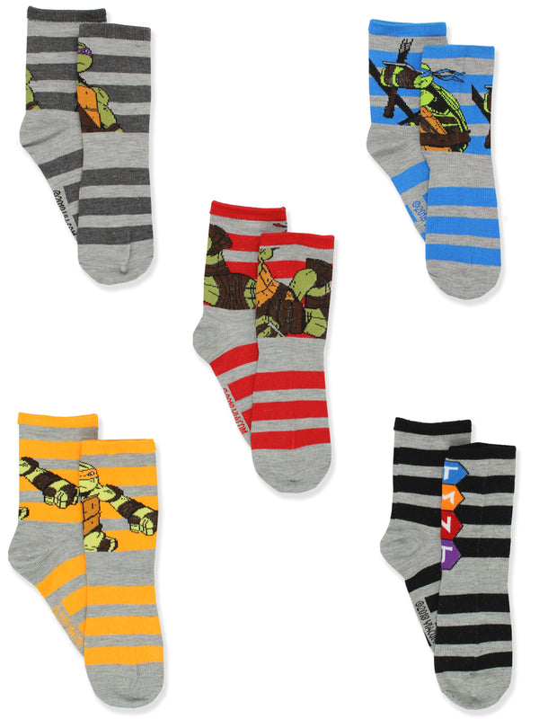 TMNT Teenage Mutant Ninja Turtles Boys 5 pack Crew Style Socks Set