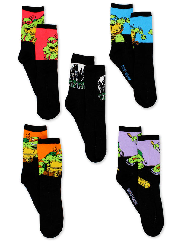 TMNT Teenage Mutant Ninja Turtles Boys 5 pack Socks Set