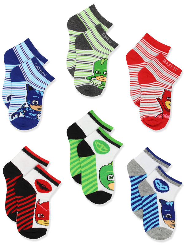 PJ Masks Boys Girls 6 pack Quarter Style Socks Set