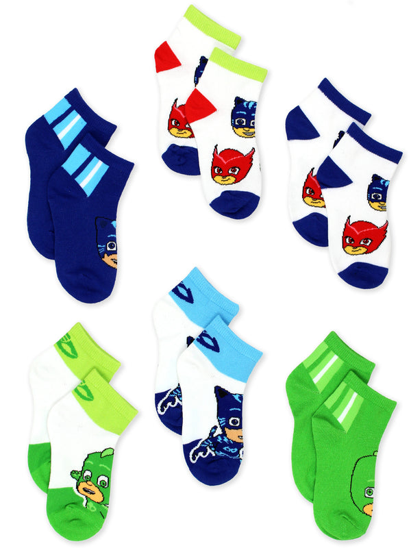 PJ Masks Toddler Boys Girls 6 pack Quarter Style Socks Set
