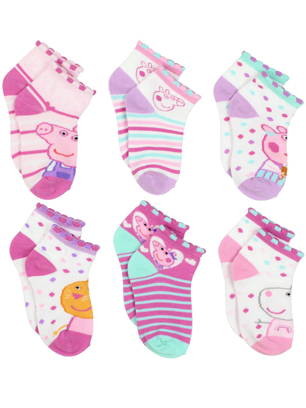 Peppa Pig Girls Toddler 6 pack Quarter Style Socks Set