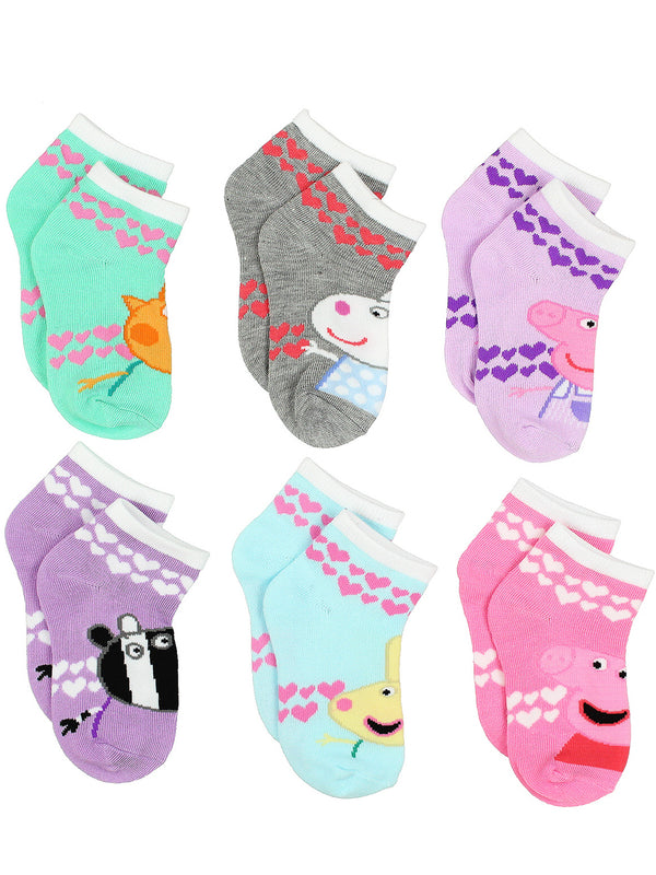 Peppa Pig Girls 6 pack Socks (Toddler/Little Kid/Big Kid)