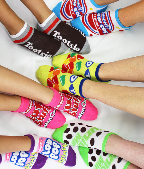 Topps Charms Candy Tootsie Roll Womens 6 pack Socks