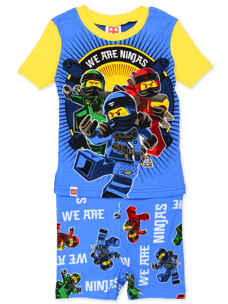 Lego Ninjago Boy's 4 Piece Cotton Short Sleeve Tee Shorts Pajamas Set