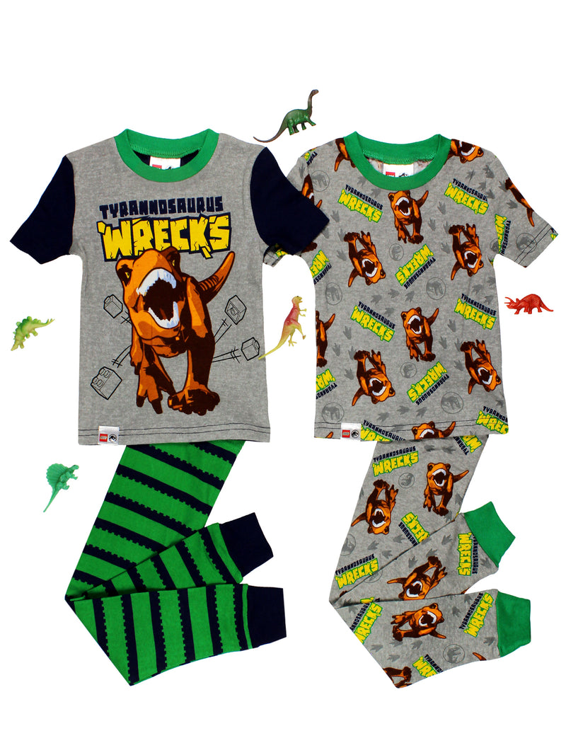 Lego Jurassic World Boy's 2fer 4 Piece Short Sleeve Cotton Pajamas Set