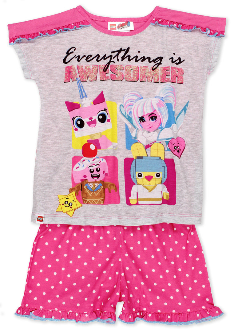 Lego Movie 2 The Second Part 2 Piece Girl's Short Sleeve Tee Shorts Pajamas Set