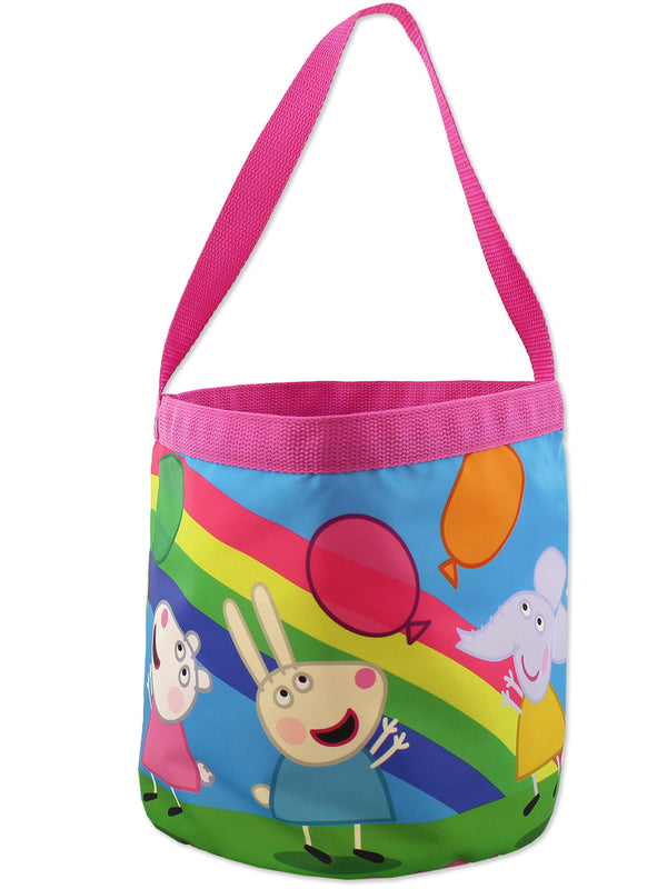 Peppa Pig Girls Collapsible Nylon Bucket Toy Storage Gift Tote Bag