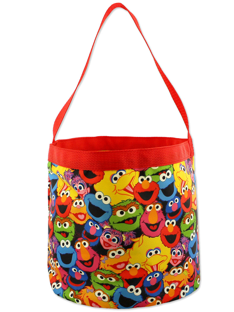 Sesame Street Elmo Boys Girls Collapsible Nylon Gift Basket Bucket Toy Storage Tote Bag