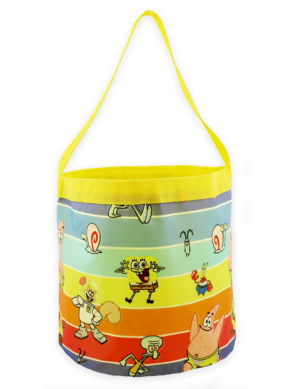 Spongebob Squarepants Boys Girls Collapsible Nylon Gift Basket Bucket Toy Storage Tote Bag