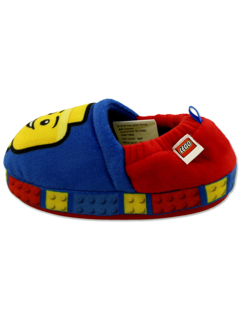 Lego Blocks Boys Toddler Plush Aline Slippers with Non Slip Rubber Sole