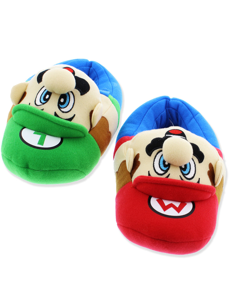 Super Mario Brothers Luigi Boys Plush Slippers
