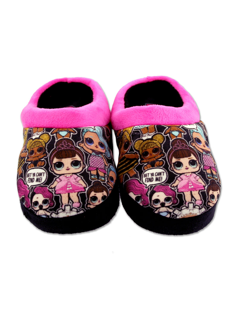 L.O.L. Surprise! Girls Toddler Plush Scuff Clog Slippers with Faux Fur