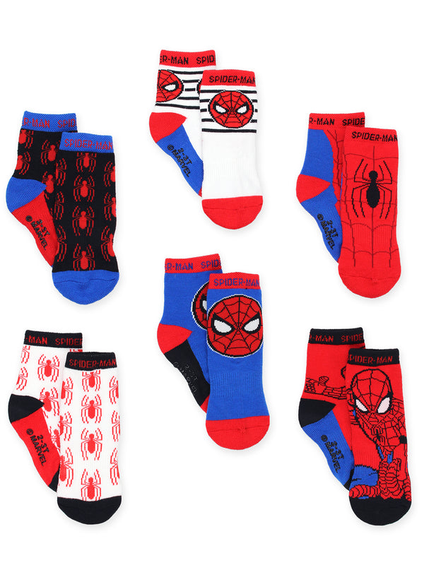 Super Hero Adventures Spider-Man Baby Toddler Boys 6 pack Socks with Grippers