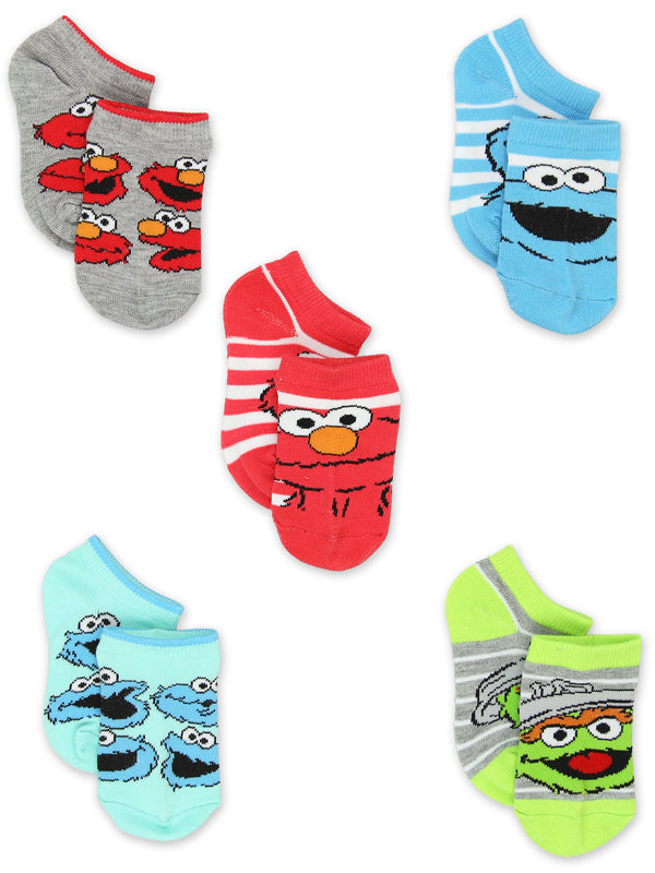 Sesame Street Elmo Toddler Boy Girls 5 Pack No Show Socks