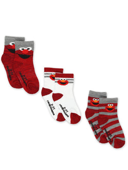 Sesame Street Elmo Baby Toddler Boy's Girl's 3 Pack Crew Socks with Grippers