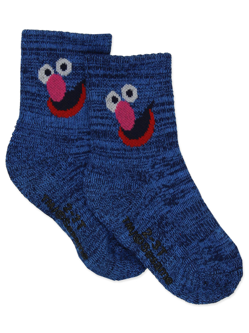 Sesame Street Grover Count Snuffy Baby Toddler Boys Girls 3 Pack Quarter Socks with Grippers
