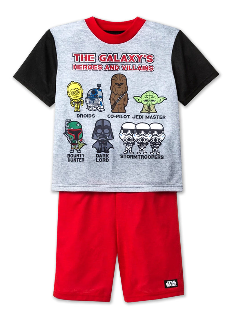 Star Wars Boy's 3 piece Short Sleeve Shorts Pajamas Set