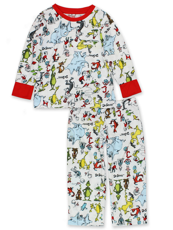 Dr. Seuss Grinch Cat in the Hat Toddler Unisex Long Sleeve 2-Piece Pajamas Set