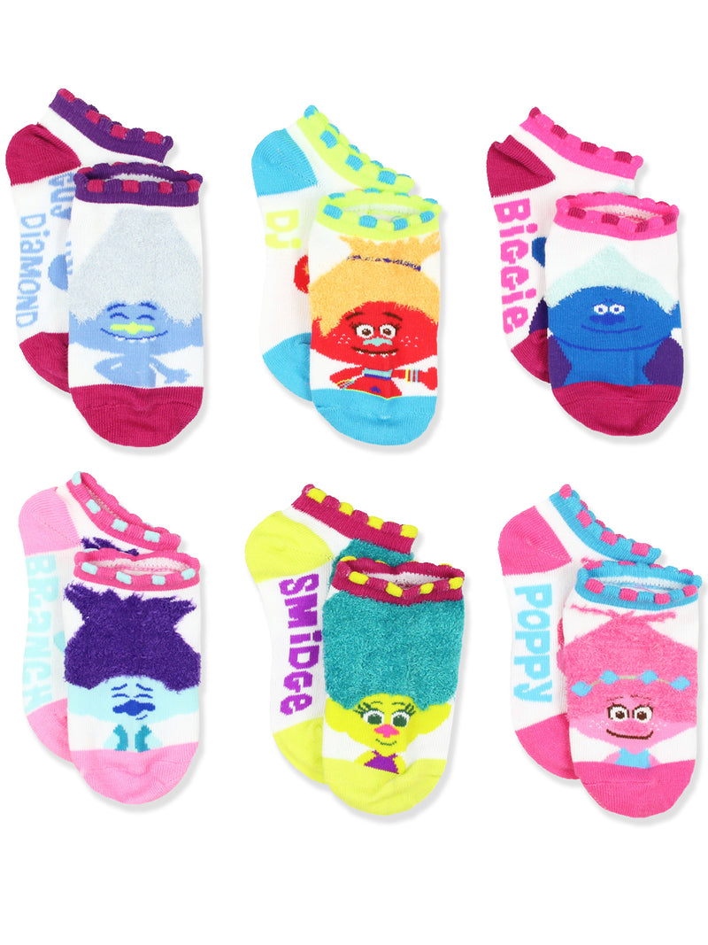 Trolls Movie Girls Teen Women's 6 pack No Show Socks